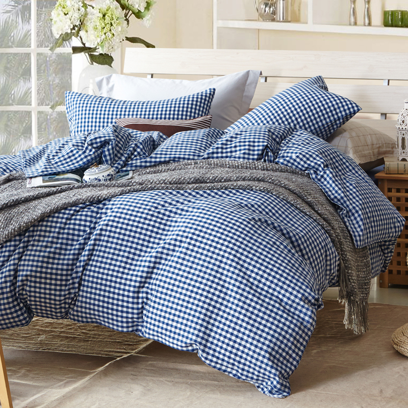 small blue plaid duvet cover sets for single or double bed 100 cotton bedcover plaid