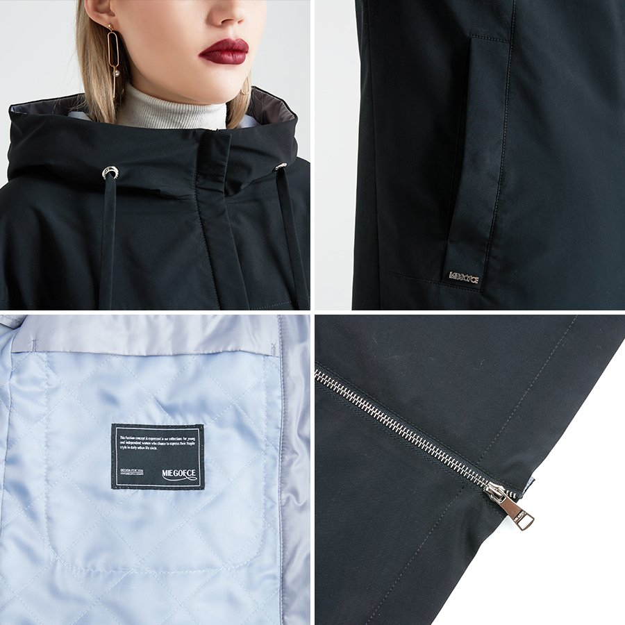 MIEGOFCE 2019 Spring and Autumn Long Women's Trench Coat Stand Collar Hooded Female Slim Synthetic Women's Coat New Design
