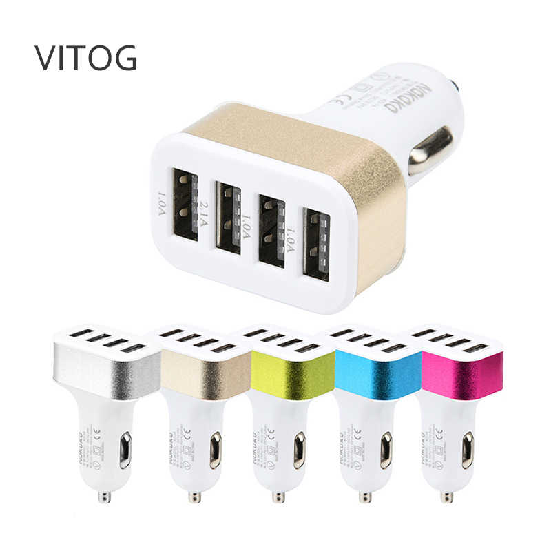 USB Car Charger 4 Port Phone Charger Adapter Socket 2A 2.1A 1A Car Styling 3 USB Charger Universal for Mobile Phone Pad Chargers