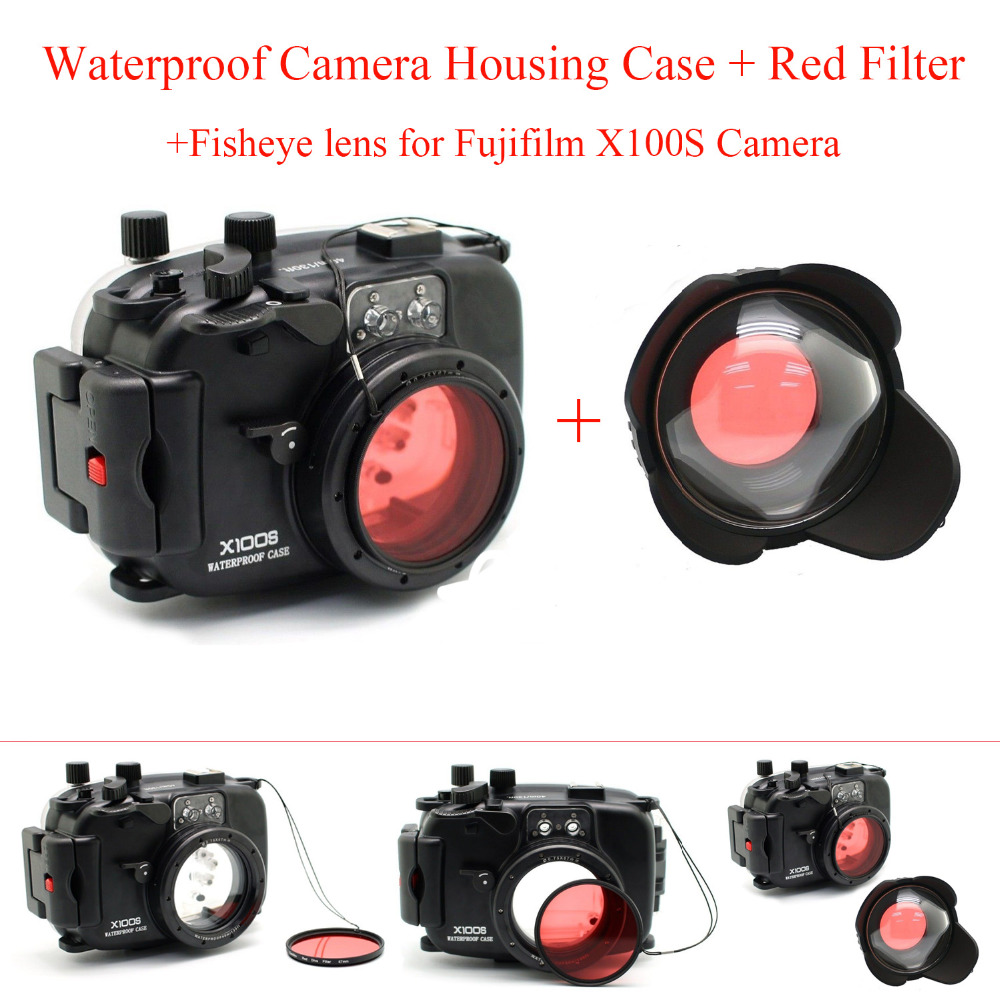 Meikon 40m Underwater Camera Housing Case for Fuji X100S Camera,Waterproof Camera Bags Case + Fisheye lens + Red Filter 67mm 40m 130ft waterproof underwater camera diving housing case aluminum handle for sony a7 a7r a7s 28 70mm lens camera