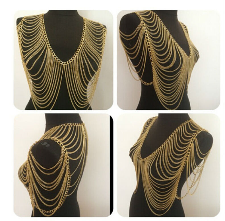 HOT SALE! Free Shipping Fashion B701 Women Gold Chains Jewelry Unique Design Sexy Harness Layers Shoulder Chain Jewelry 3 Colors
