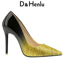 {D&Henlu} Gradient color Office High Heel Shoes Women Pumps Thin High Heel Stiletto Shoe Black And White Glossy Bright escarpins