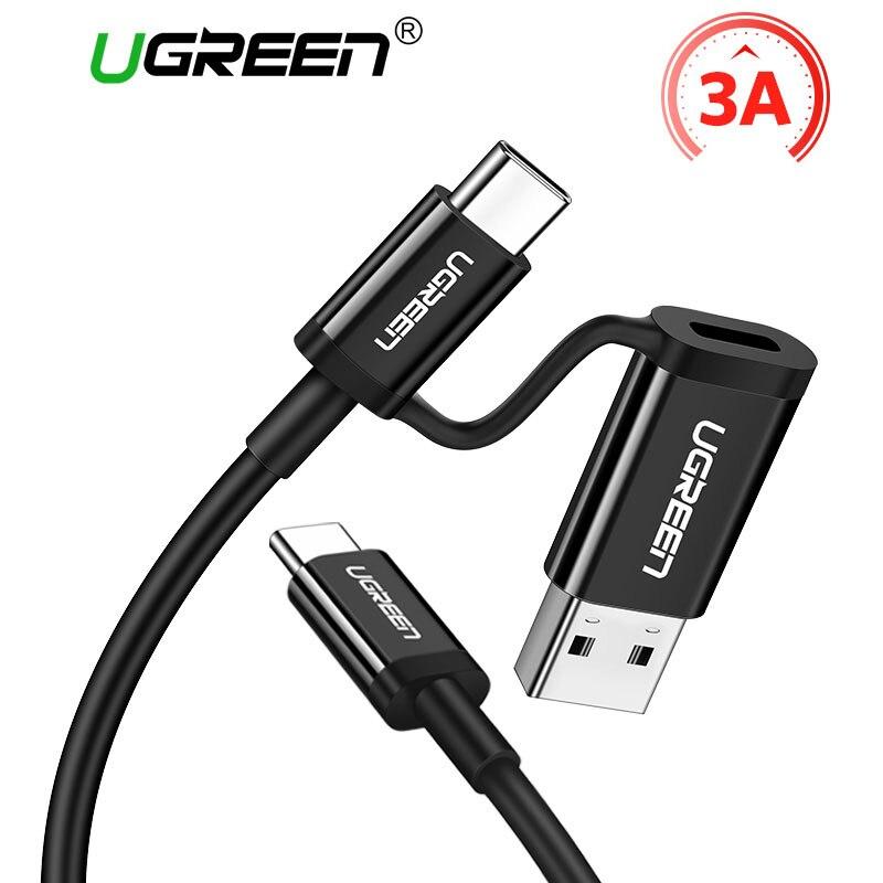 Ugreen USB tipo C Cable para Samsung S8 S9 más 2 en 1 USB a tipo-c 3A carga rápida Cable de datos para uno más 5 6 USB C Cables