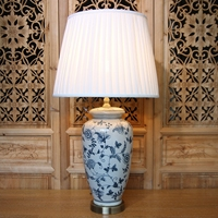 Античная лед трещины Китайский Синий и белый фарфор светодиодные E27 Настольные лампы для изучения Гостиная Спальня Керамика огни 1833
