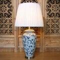 Античный лед трещина китайский синий и белый фарфор Led E27 настольная лампа для учебы гостиной спальни керамические светильники 1833