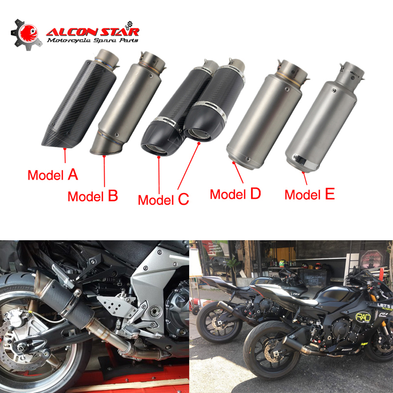 Alconstar- 51mm Motorcycle SC GP Exhaust Muffler Escape Carbon Fiber Exhaust Muffler Pipe For Z750 Z800 NINJA250 TMAX Racing