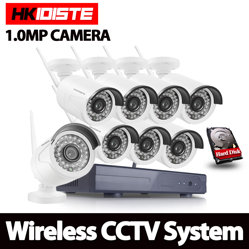 HKIXDISTE 8CH Security 1080P Wireless NVR Kit P2P 720P HD Outdoor IR Night Vision IP Camera WIFI CCTV System 1TB HDD 8ch nvr kit 720p 3 6mm waterproof outdoor onvif ir ip camera 1 0mp and 8ch 1080p 720p nvr for cctv security system free shipping
