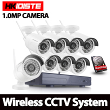 HKIXDISTE 8CH Security Wireless NVR Kit P2P 720P HD Outdoor IR Night Vision IP Camera WIFI CCTV System 1TB HDD