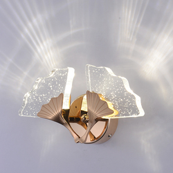 2019 luksusowe kryty lampki nocne ciepłe z przezroczystej żywicy z bąblami powietrza Ginkgo Biloba korytarz LED kinkiet korytarz hotelowy kinkiet