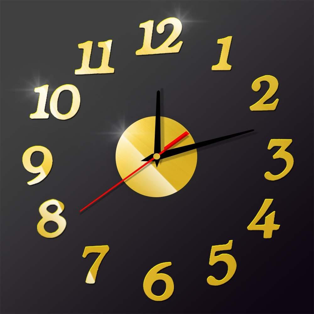 Creative Arabic Numbers 3D DIY Acrylic Wall Clock Home Decor ...