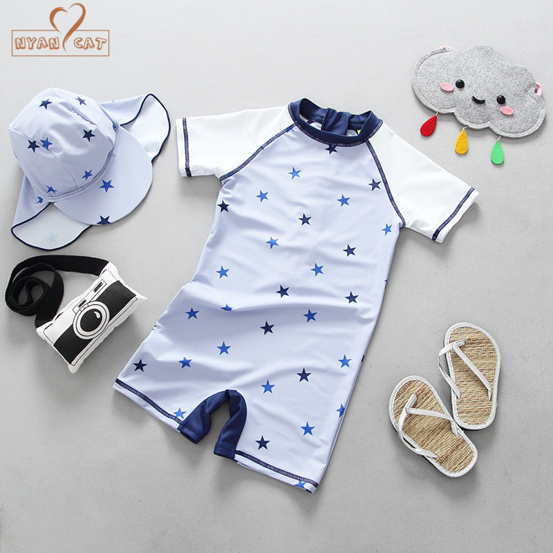 Nyan Cat Baby boy star swimsuit 2018 summer new style boy short sleeve sunscreen surfing suit hat +swimwear bathing clothes
