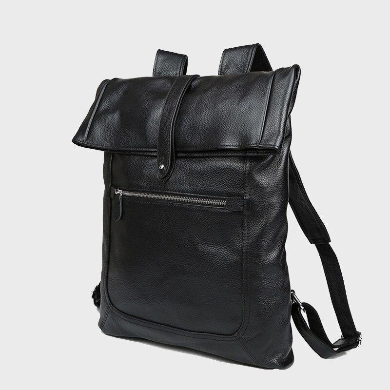 Genuine Cowhide Leather Men Backpack Large Capacity Male Travel Bags Schoolbag Mochila Pack Fit For 17 Inch Laptop PR083058 cool leopard lion men backpack male travel large capacity backpacks 17 inch men s laptop back pack teenager boys new school bags