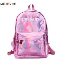 685660343fc8 Уличный хип-хоп голографический женский рюкзак буквы лазерная голограмма PU  кожа девочки плечо школьный рюкзак