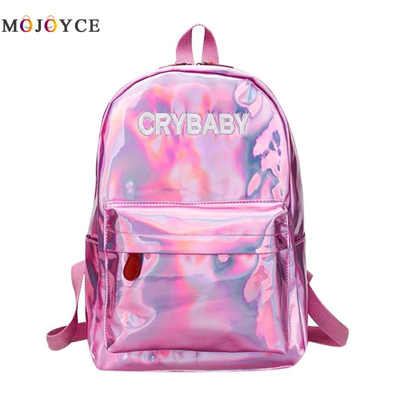 Street Hip Pop Holographic Women Backpack Letters Laser Hologram Pu Leather Girls Shoulder School Rucksack Mochila Feminina