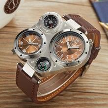 4c2f80a31b0 Oulm Esportes De Couro Casual Relógios Homens Marca De Luxo Exclusivo  Designer Militar Relógio Masculino Relógio