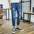 famous Brand Distressed Jeans For Men 2017 Fashion Men Jeans Elastic Pants blue Color Slim Fit Ripped Jeans Men Stretch Trousers