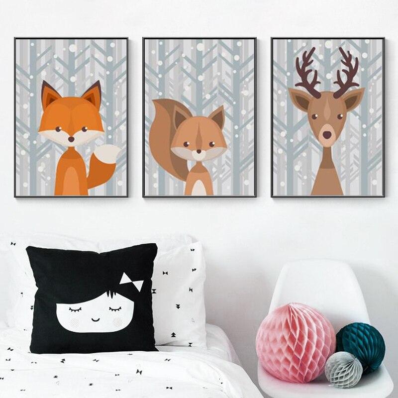 Woodland Animal Baby Fox Deer Canvas