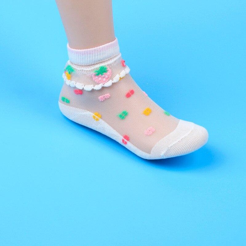 5 Pairs/Lot Summer Girls Socks Mesh Style Baby Socks with Trendy Elastic Lace Flowers Children Socks 5