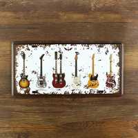 Vintage pintura música guitarra matrícula Metal Arte de la pared Decoración casa Café Bar hierro decoración de la placa 15*30 CM envío gratis