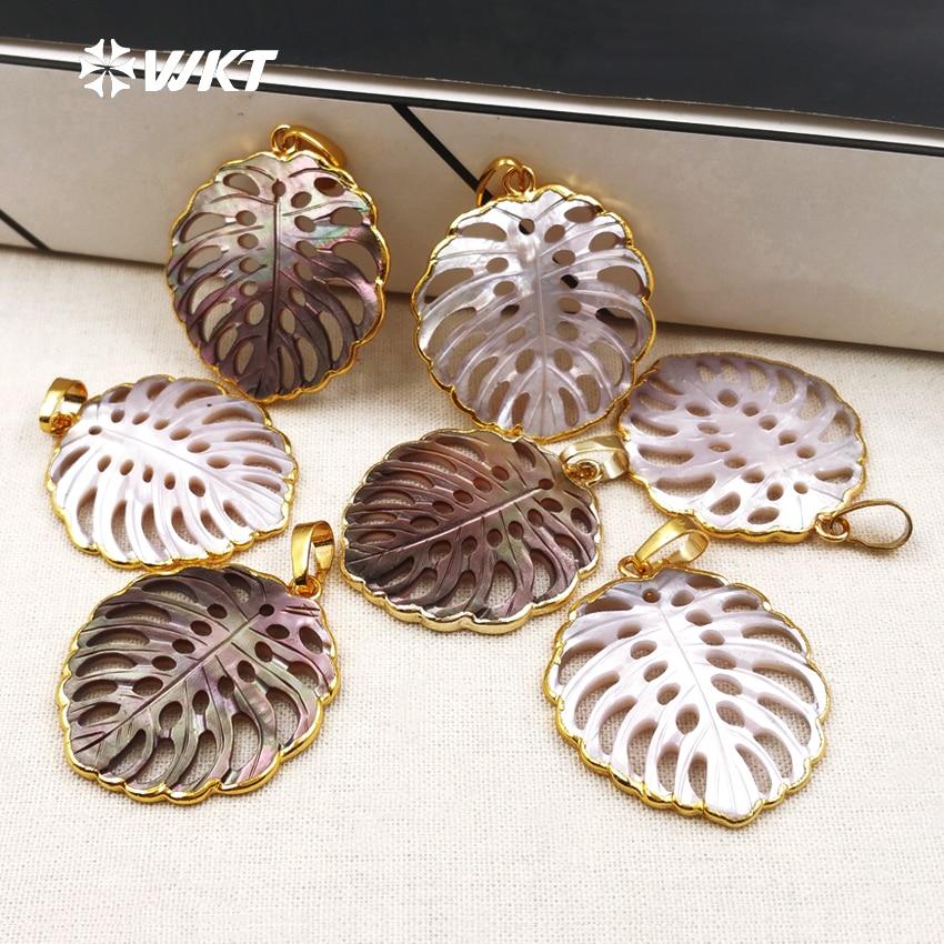WT P1346 WKT mode natuurlijke shell hanger hoge kwaliteit bladvorm shell hanger charmant hanger voor mooie vrouwen maken-in Hangers van Sieraden & accessoires op  Groep 1