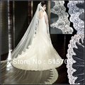 Gorgeous Cathedral Train Long Veil 3 metre High Quality New White/ Ivory 1T Wedding Bridal Veils Car Bone Lace Edge without Comb