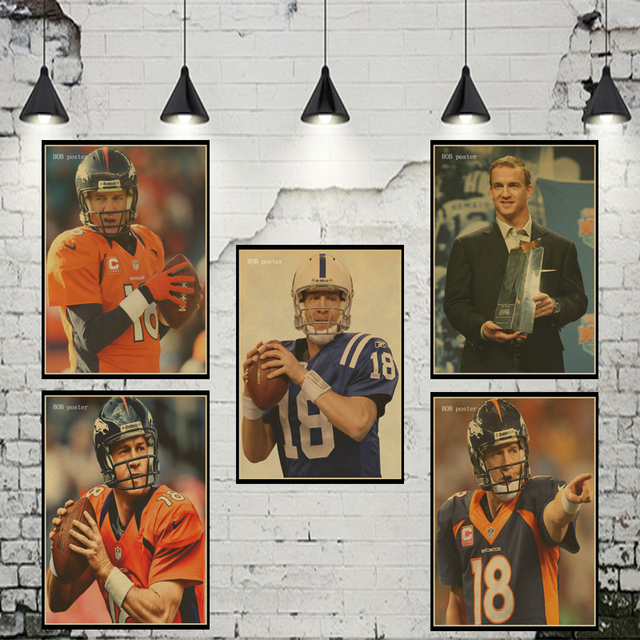 Tremendous Us 1 56 21 Off Nfl Player Peyton Manning Poster Retro Kraft Wall Paper Vintage Poster Wall Sticker In Wall Stickers From Home Garden On Interior Design Ideas Clesiryabchikinfo