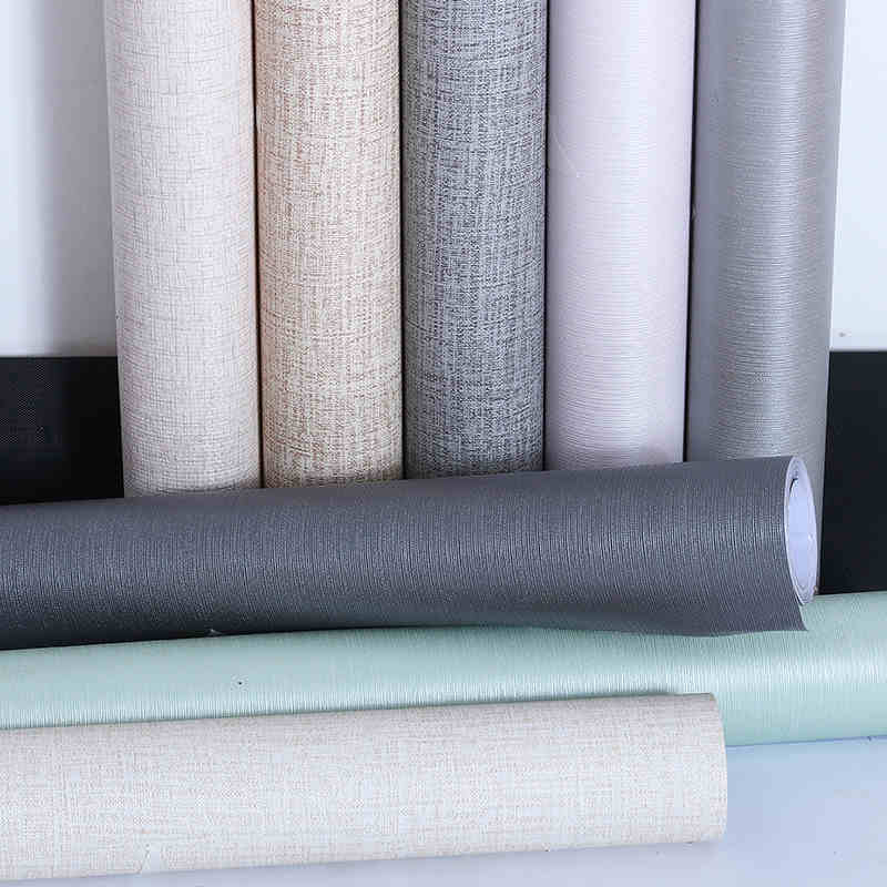 Thickened Linen Pattern Solid Color Wallpaper Self - Adhesive Waterproof Wallpaper Plain Furniture Renovation Stickers-122