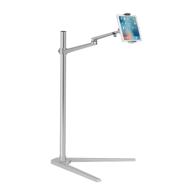 Tablet Floor Stand, Height Adjustable Aluminum Holder Support 3.5~6 Phone and 7~13 Tablet for iPhone iPad Air Mini Pro Stand