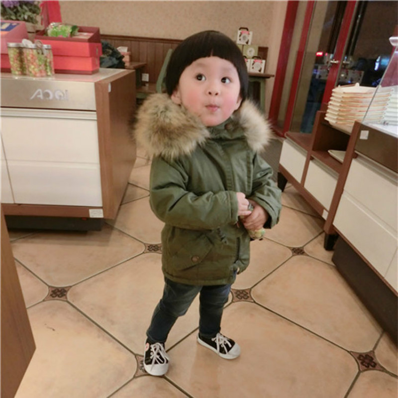 2730bb0a1ed2 Baby Boys Winter Jacket in Army Green Thick Fur Hooded Warm Coats ...