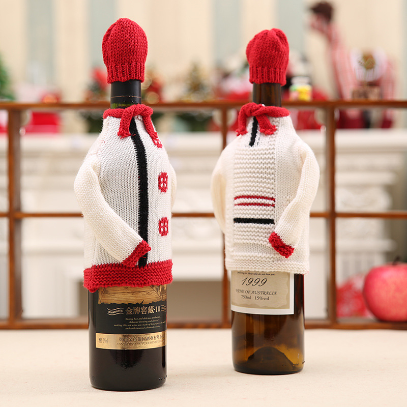new high end knitting sweater christmas wine bottle set restaurant beer bottle decorations holiday supplies - Christmas Wine Bottle Decorations