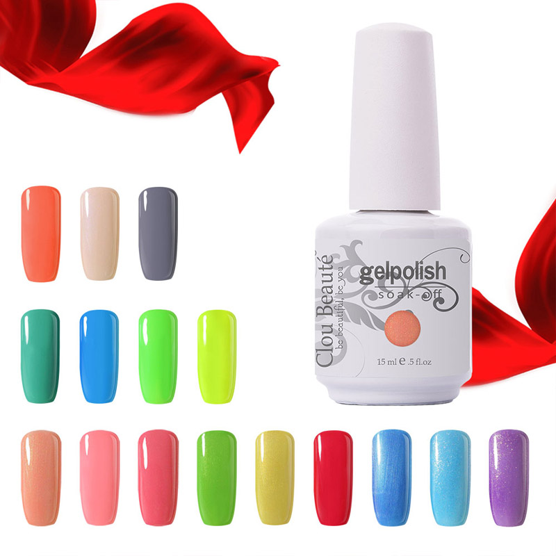 Uitverkoop 15ml Clou Beaute Kies elke 1 Kleur UV Gel Nagellamp Top en Basis Gel UV Kleur Gel Lak Losweken Nagel Gel Poetsmiddel