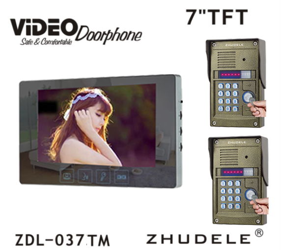 ZHUDELE Home Video Door Phone with 7 Touch Key LCD Monitor and 700 TVL HD IR Camera , Password and ID Card Unlock function 2V1