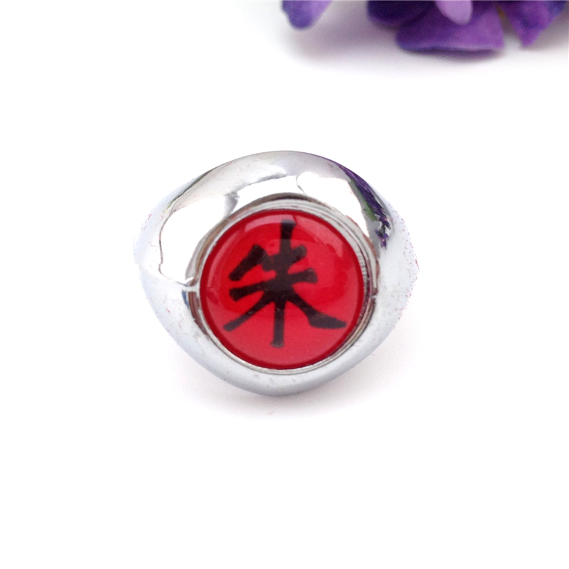 New Arrival Anime 10 Pcs Akatsuki Cosplay Fashion Accessores Unisex Resizable Red Naruto Uchiha Itachi Ring