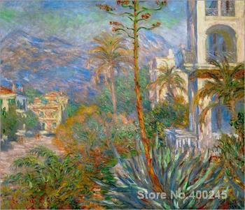 oil Painting room decor Village avec montagne et Agave by Claude Monet Landscape art Handmade High quality