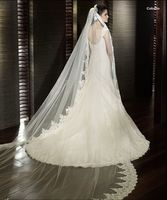 Wholesale/retail White/ivory Lace Veil Bridal Veil 3 Meters Cathedral Long Wedding Veils Cathedral Wedding Veils