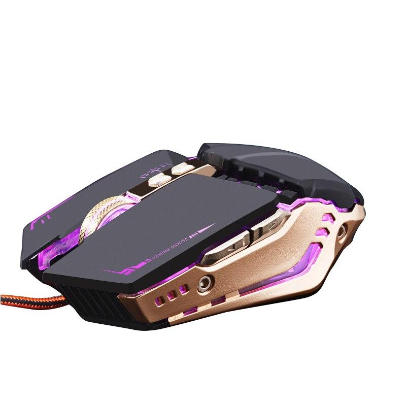 X800 Del Computer Mouse Da Gioco Gamer Mouse Ottico con filo 3D 3200 DPI Metallo Ergonomico USB RGB Retroilluminato Mouse Per Overwatch LOL gioco per PC