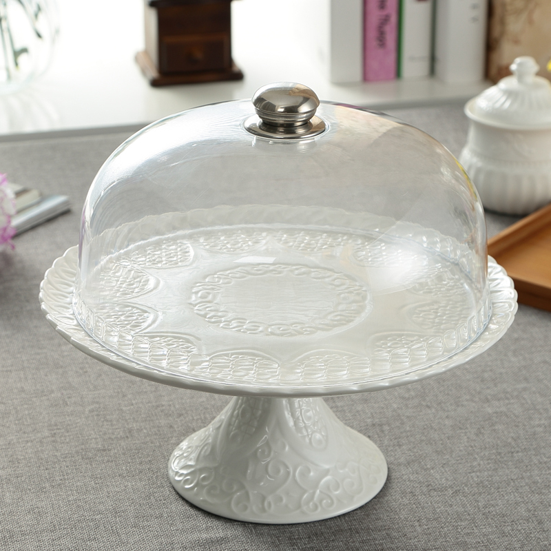 Ceramic Relief Compote Cake Stand Plate with Cover Decorative Porcelain Stem Dessert Serving Tray Fruits Dinnerware Utensil