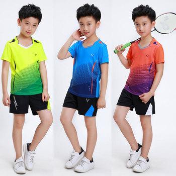 Odzież do tenisa dla dzieci do badmintona koszulki z krótkim rękawem dla dzieci tenis garnitury odzież do tenisa stołowego ping pong zestaw dla dzieci tenis stołowy spodenki tanie i dobre opinie NoEnName_Null Chłopcy Pasuje prawda na wymiar weź swój normalny rozmiar breathable quick drying Sweat absorption cool