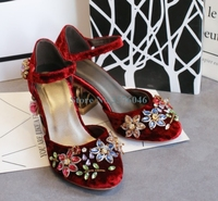 Round Toe Velvet Birdcage Heels Retro Pumps Bling Bling Crystal Flower Buckle Strap Banquet Shoes Red Black Blue Women Shoes