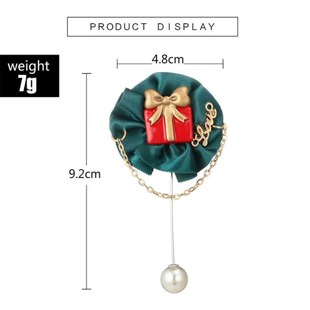 Hadiah Natal Buatan Tangan Surat Cinta Kotak Hadiah Pola Bros Syal Gesper Kerah Pin Dekorasi Gaun Natal Perhiasan Bros