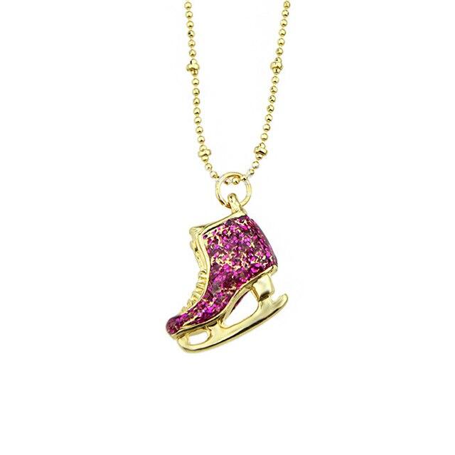 1pc new fashion cute ice skate shoes pendant necklace gold color 1pc new fashion cute ice skate shoes pendant necklace gold color chain necklace for women costume aloadofball Gallery