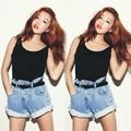 HOT! 2015 Mulheres Plus Size Denim Shorts Lady Moda Sexy Shorts Jeans De Cintura Alta Retro Verão S-XL 30