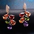Очаровательная Многоцветный Water Drop Дизайн Розовое Золото Женщин Кристалл Серьги 2016 Новый Год Подарки Brincos Bijoux Femme Ear0032-RG