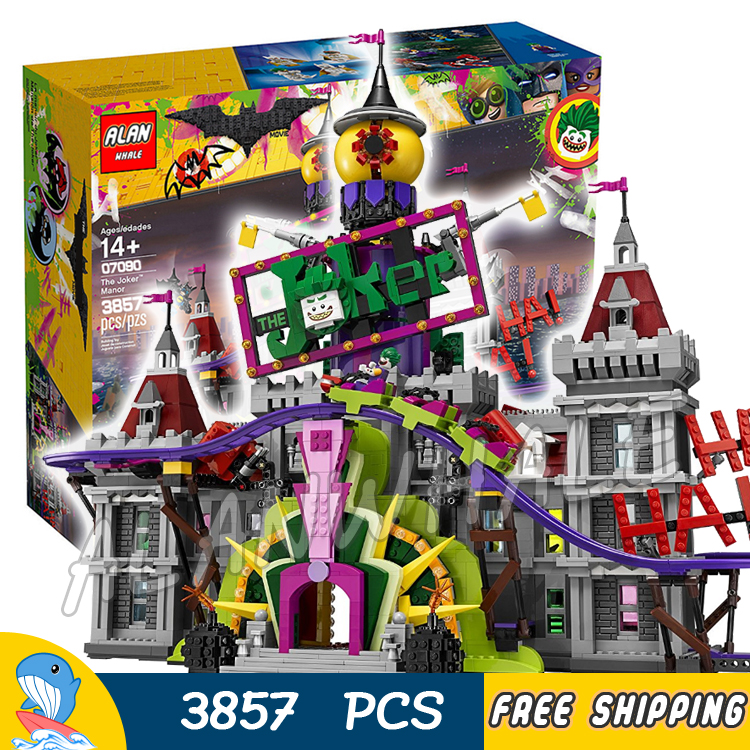 3857pcs Super Heroes Batman Movie Joker Manor Castle Jokerland 07090 Model Building Blocks Toys Bricks Compatible With lego 788pcs super heroes batman movie killer croc sewer smash bat tank 07037 model building blocks toys bricks compatible with lego