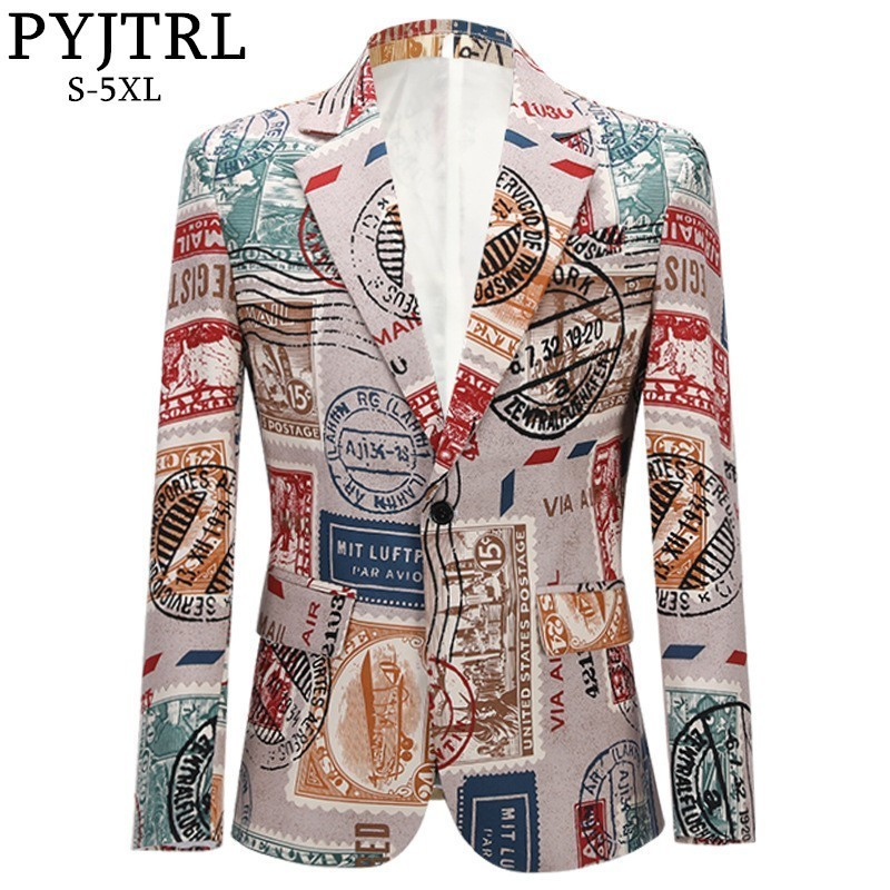 PYJTRL Men's Retro Vintage Plus Size Print Suit Jacket Casual Coat Slim Fit Blazer Men Veste Homme Mariage Prom Singers Costume