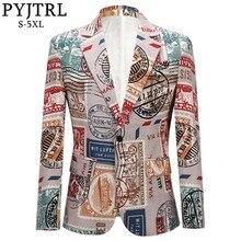 PYJTRL Men's Retro Vintage Plus Size Print Suit Jacket Casual Coat Slim Fit Blazer