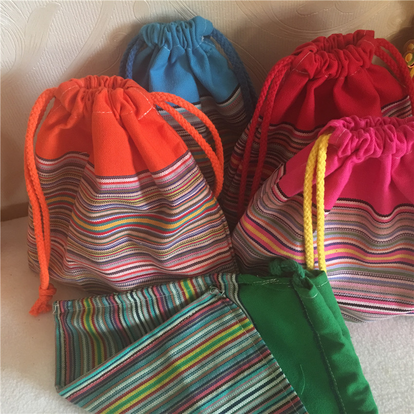 YILE 1pc 20cx20cm Cotton Striped Drawstring Multi- Purpose Organizer Bag Party Gift Bag 5 Colors To Choose From