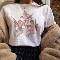 Verano 2019 Harajuku Kawaii Ángel Michael Ángel estética pareja Camiseta Mujer Vogue Casual estampado manga corta Camiseta Mujer