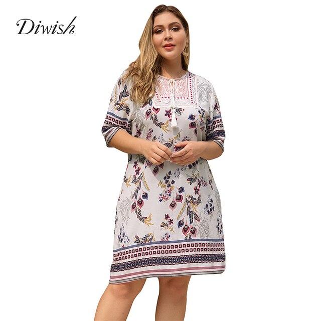 Diwish Women Summer Boho Dress Half Sleeve V Neck Dress Print Patchwork Casual Short Ladies Dresses Plus Size Dress XL-4XL