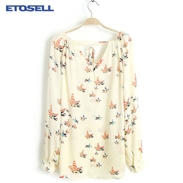 Fashion Women's Chiffon Blouse Tops 2018 Summer Long Sleeve V-Neck Dove Printed Casual Loose Shirt Female Stylish Blusas